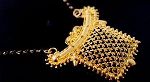 22k 22ct Chain Yellow Solid Black Bead Mangal Sutra Pendant Necklace 22inch c909 | Royal Dubai Jewellers