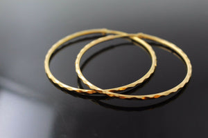 22k 22ct Solid Gold ELEGANT Extra Large Hoops Earring Modern Design e5120 | Royal Dubai Jewellers