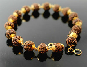22k 22ct Solid Gold ELEGANT NATURAL RUDRAKSHA BEADS BALL LADIES BRACELET  b765 | Royal Dubai Jewellers