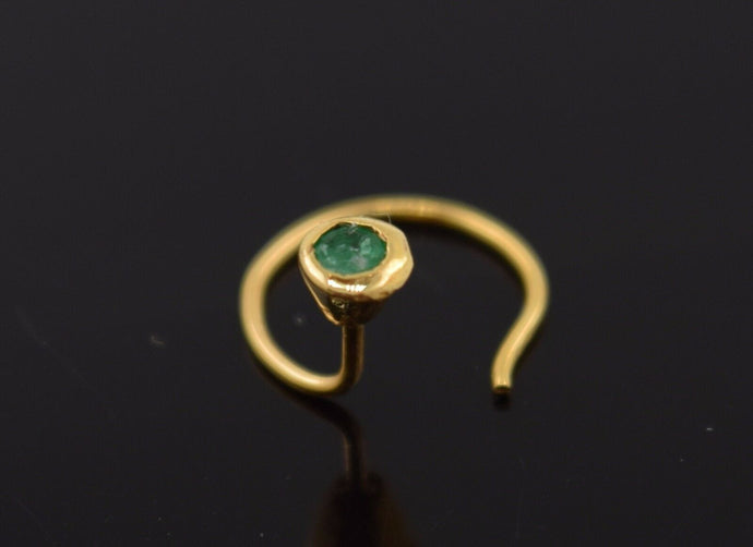 Authentic 18K Yellow Gold Nose Pin Ring Green Birth Stone May n132 | Forever22karat