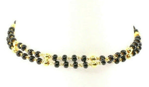 22k Bracelet Solid Gold Simple Charm Classic Black Onyx Beads Design B4051