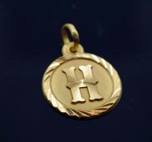 22k 22ct Solid Gold Round Shape Pendent H letter ph3 | Royal Dubai Jewellers