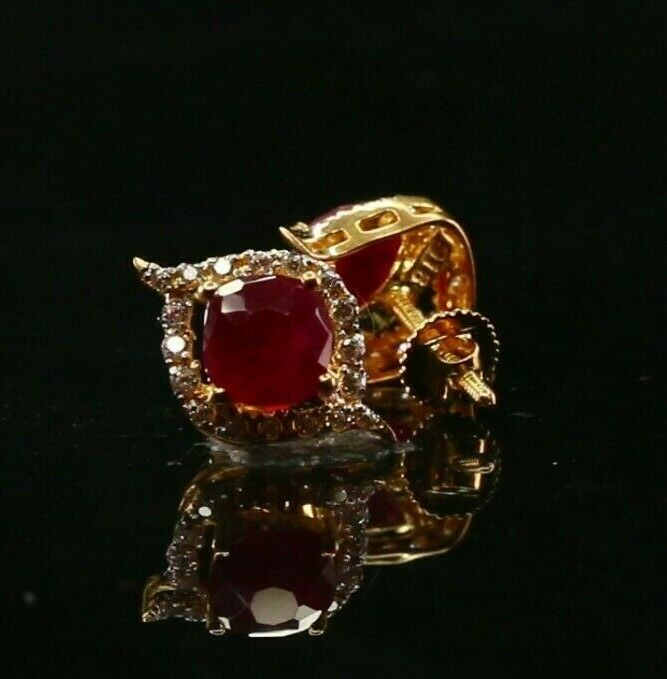 22k 22ct Solid Gold ELEGANT Simple Ruby Studs With Stones Design E7102