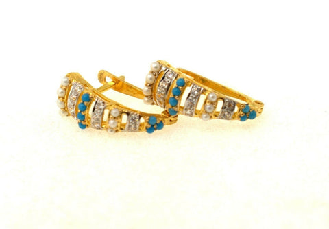 22k 22ct Solid Gold ELEGANT PEARL TURQUOISE CLIP ONS EARRINGS STUDS e5429 | Royal Dubai Jewellers