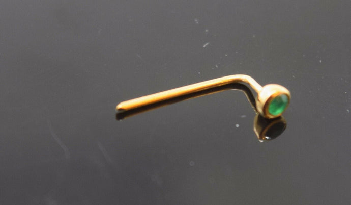 Authentic 18K Yellow Gold L-Shaped Nose Pin Stud Green Birth Stone May n041 | Forever22karat