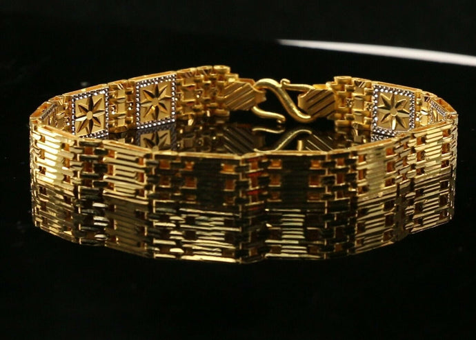 22k Bracelet Solid Gold Exquisite  Mens Two Tone Star Design Size 8 inch B1212 | Royal Dubai Jewellers