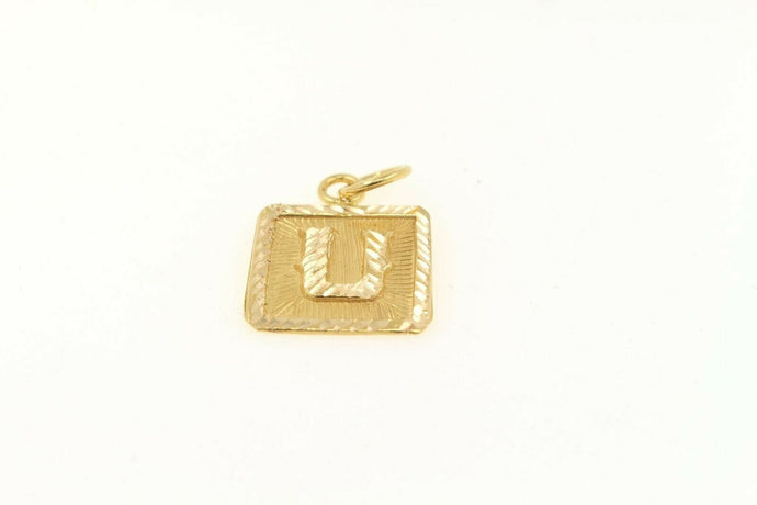 22k 22ct Solid Gold Charm Letter U Pendant Square Design p1123 ns | Royal Dubai Jewellers