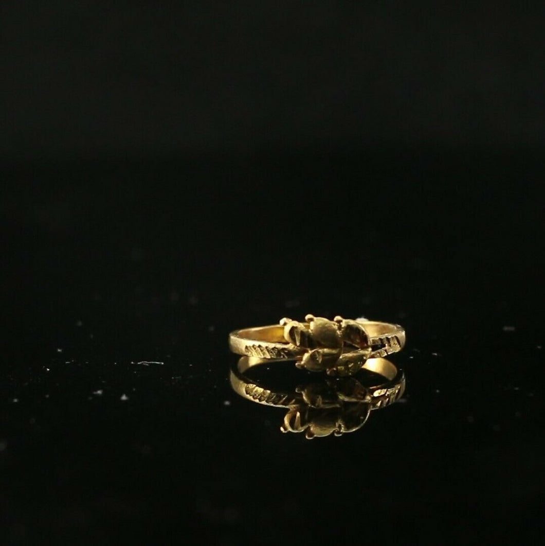 22k Ring Solid Gold ELEGANT Charm Ladies Leaf Band  SIZE 5