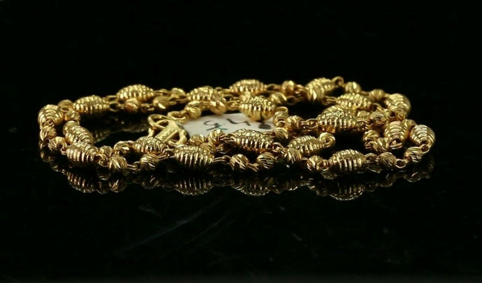 22k Chain Yellow Solid Gold Necklace Diamond Cut Bead Design Length 18 inch c666