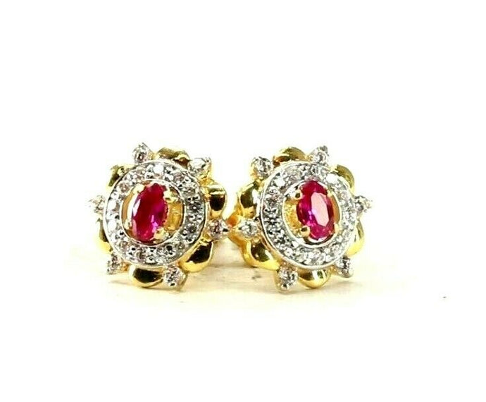 22k Earrings Solid Gold ELEGANT Simple Stones Encrusted Studs Design E8089