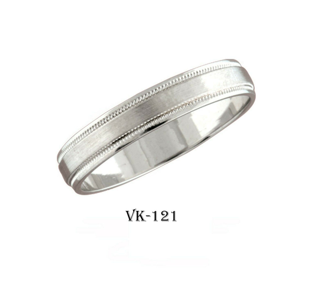 18k Solid Gold Elegant Ladies Modern Satin Finish Flat Band 4MM Ring VK121v
