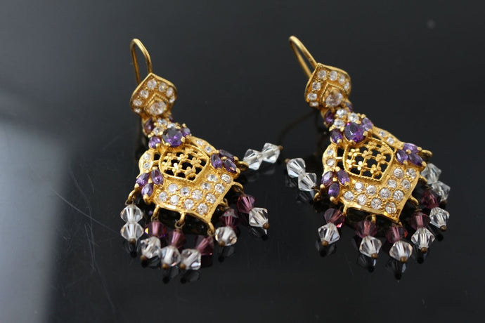 22k Earrings Solid Gold Elegant Antique Purple Topaz Stone Earrings au