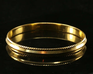 22k Bangle Solid Gold Simple Mens High Polish Kara Design Size 2.75 inch B1134 | Royal Dubai Jewellers