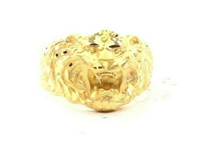 22ct 22k Solid Gold Elegant Tiger Design Mens Ring Size R2030mon | Royal Dubai Jewellers