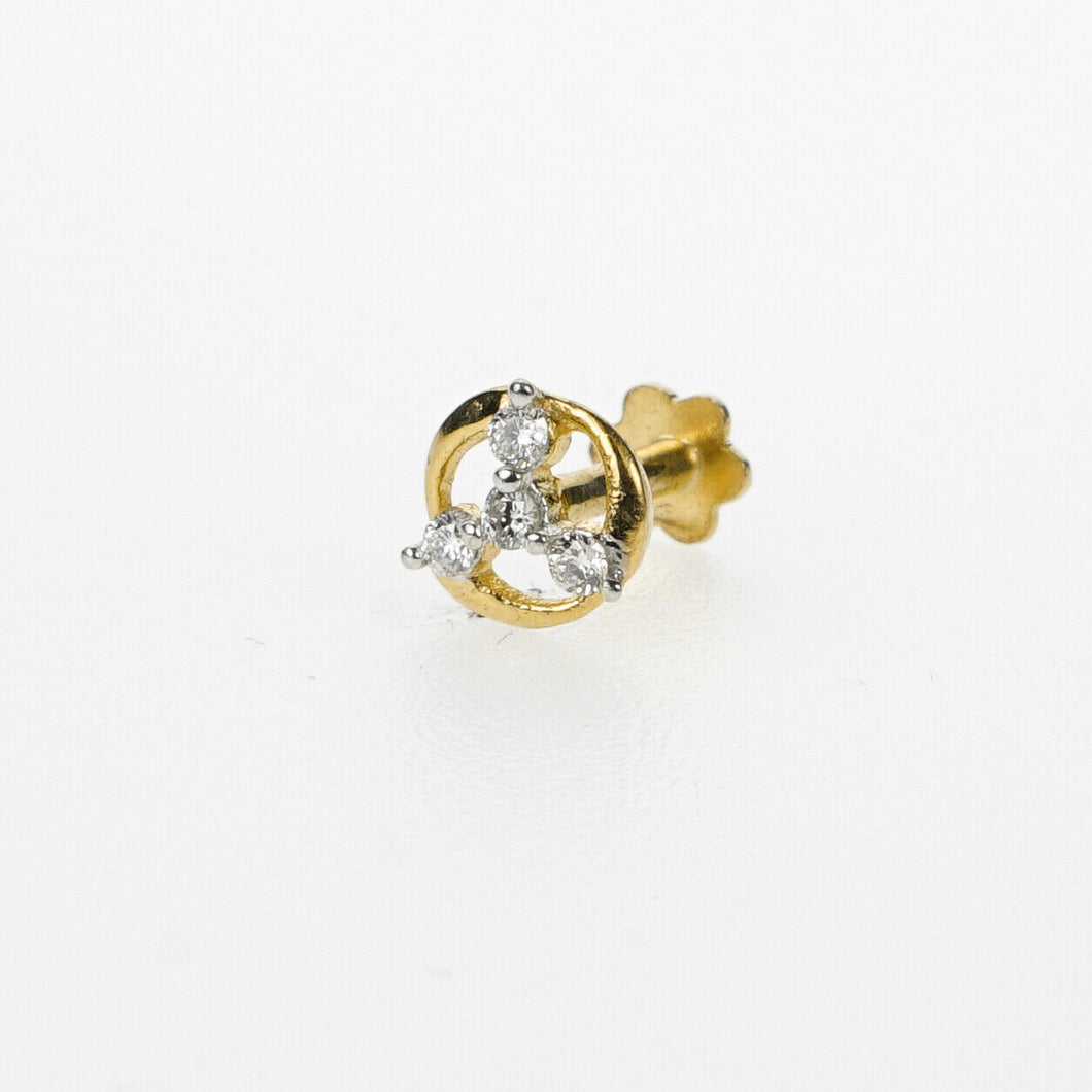 18k Stunning Modern Diamond Solid Gold Nose pin Unique Design Comfort Fit NP42