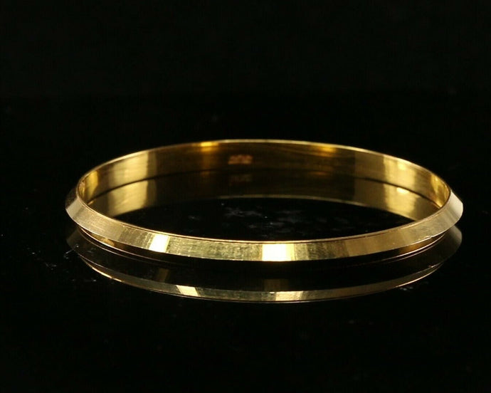 22k Bangle Solid Gold Simple High Polish Mens Kara Design Size 2.25 inch B1181 | Royal Dubai Jewellers