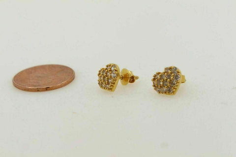 22K2 2CT SOLID GOLD BABY HEART SHAPE ZERCOINIA STONE EARRINGS STUDS E5675 | Royal Dubai Jewellers