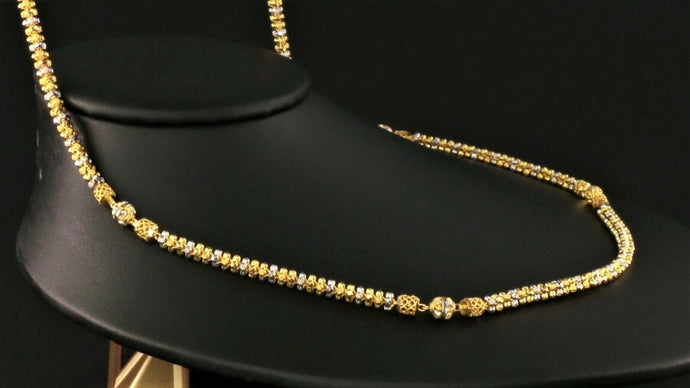 22k Yellow Solid Gold Chain Necklace  Two Tone Design Length 22 inch C1109 | Royal Dubai Jewellers