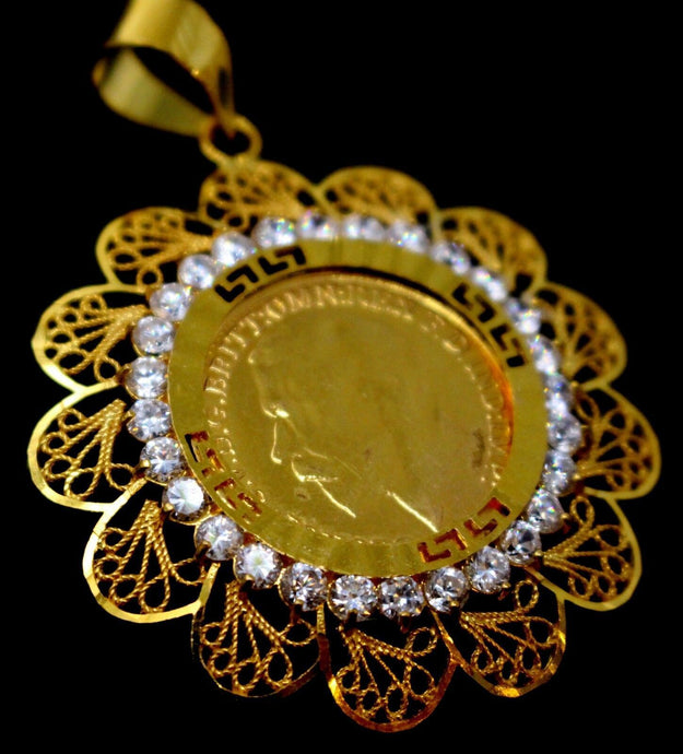22k 22ct Solid Gold ELEGANT King George LOCKET Pendant with Stones Design P1339 | Royal Dubai Jewellers