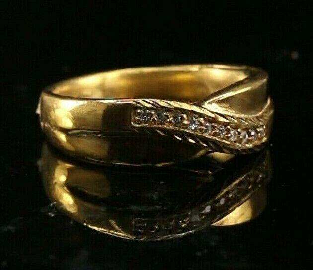 22k Ring Solid Gold ELEGANT Charm Mens Cross Band  SIZE 9-3/4