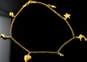 21k 21ct Gold BEAUTIFUL LADIES Charm 1 PC LOCK BANGLE BRACELET B860 | Handmade