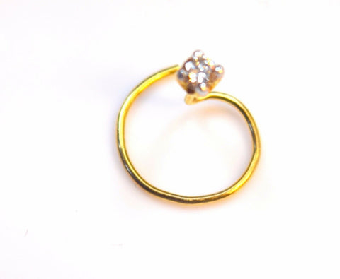 Authentic 18K Yellow Gold Nose Ring Round-Cut-Diamond VS2 n002 | Forever22karat