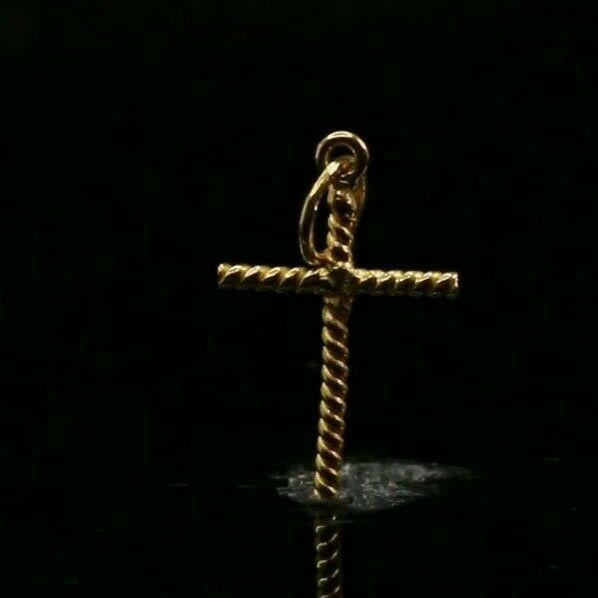 22k Pendant Solid Gold ELEGANT Classic Twisted Christian Cross Pendant p3020