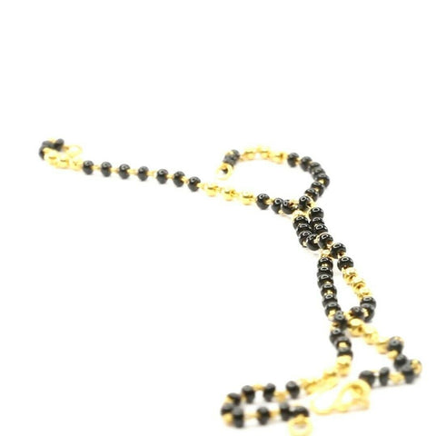 22k Chain Yellow Solid Gold  Necklace Onxy Beads Design Length 16 inch C3026 | Royal Dubai Jewellers