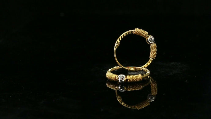 22k Earrings Solid Gold ELEGANT Simple Diamond Cut Hoop with Beads Design e7376