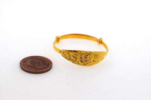 22k Jewelry Solid Gold ELEGANT PLAIN BABY CHILDREN BANGLE BRACELET cb332 | Royal Dubai Jewellers