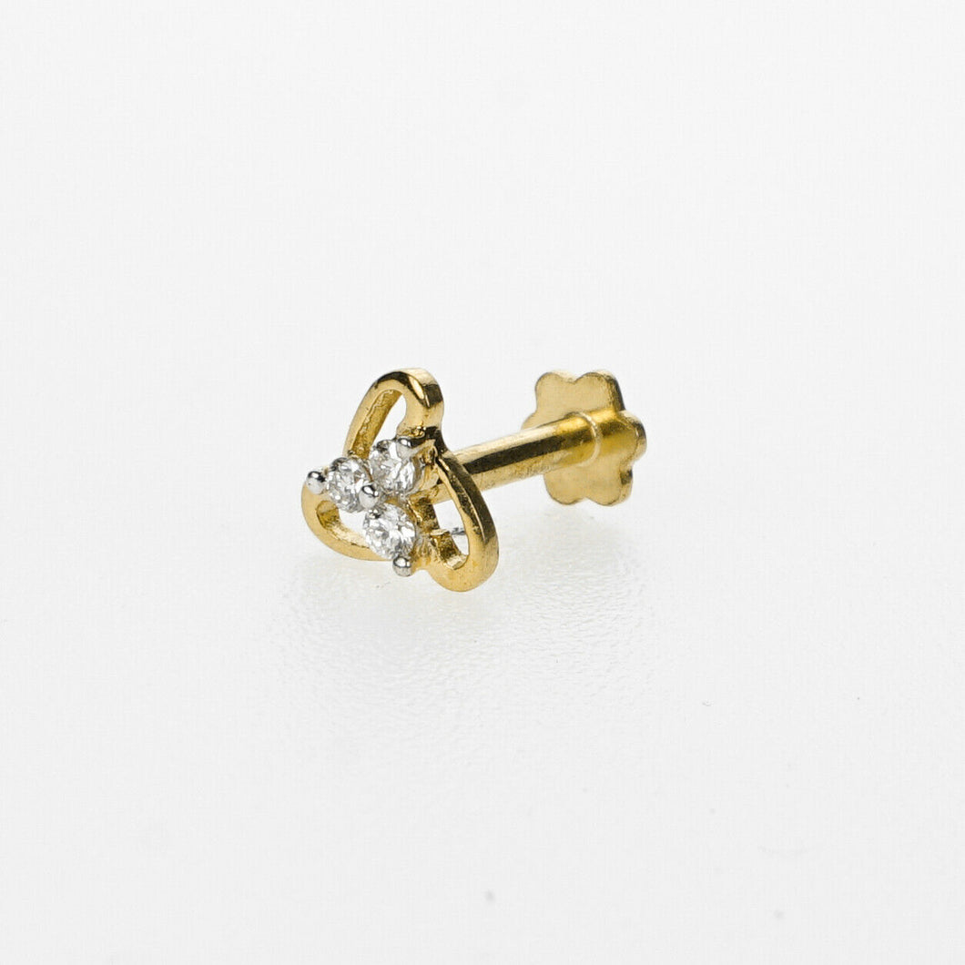 18k Stunning Modern Diamond Solid Gold Nose pin Unique Design Comfort Fit NP65