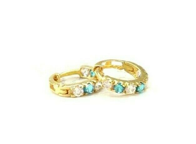 22k Earrings Solid Gold ELEGANT Simple Stones Encrusted  Studs Design E8051