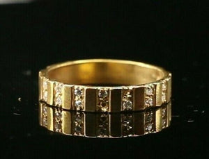 "22k Ring Solid Gold ELEGANT Charm Unisex Stone Band  SIZE 6.5 ""RESIZABLE"" r2140"