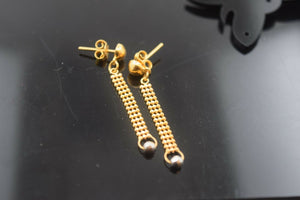 22k Solid Gold ELEGANT EARRINGS HANGINGS & DROP MODERN DESIGN E757 | Royal Dubai Jewellers