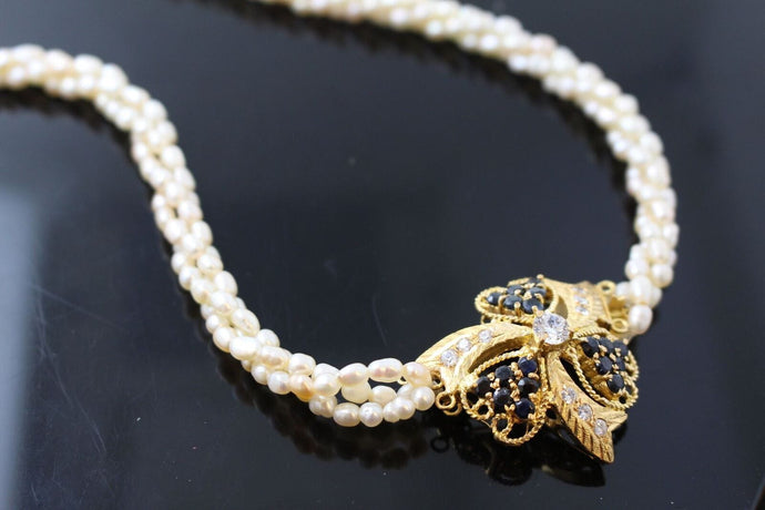 22K 22CT SOLID GOLD PEARL BEADED Choker CHAIN NECKLACE With Blue Sapphire au | Royal Dubai Jewellers