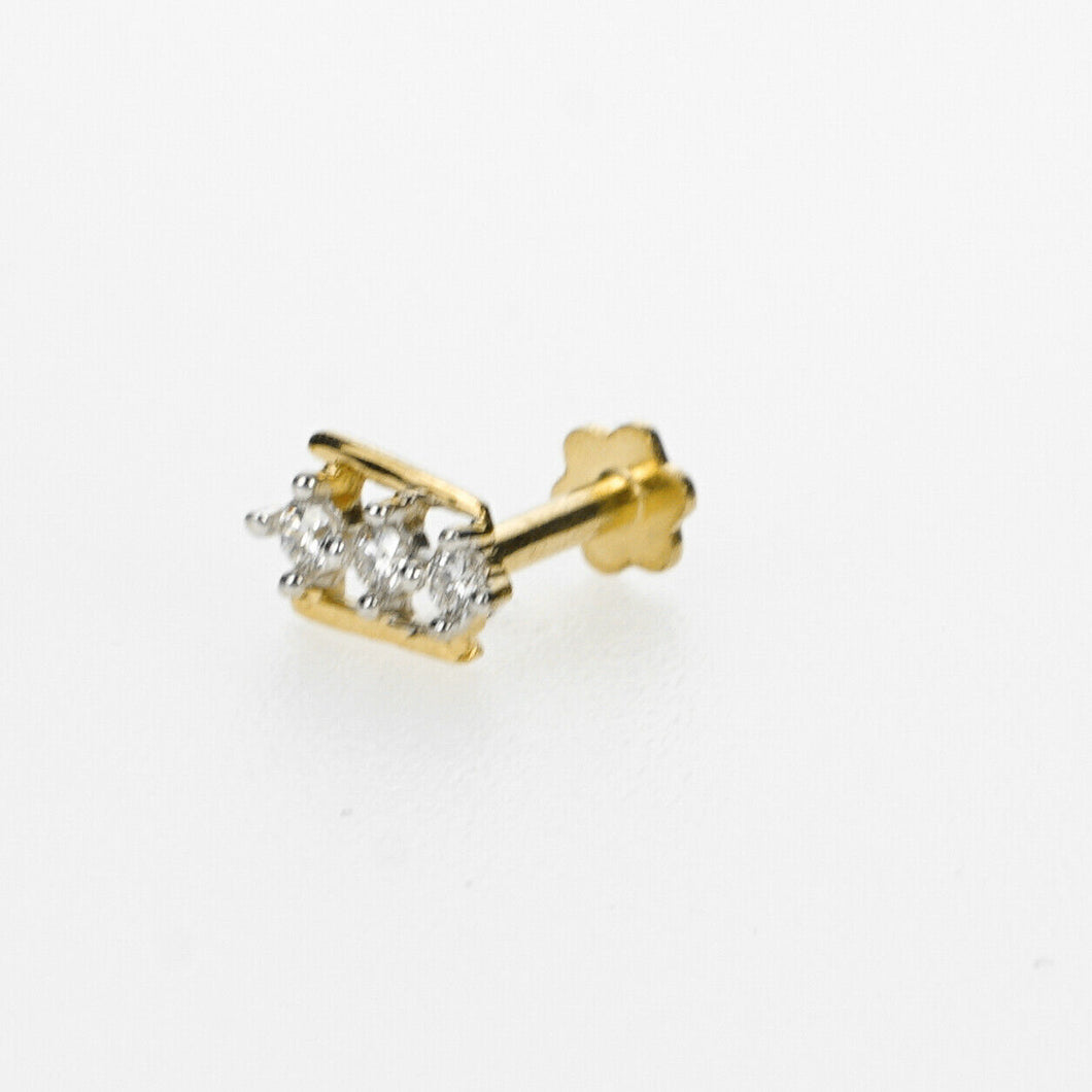 18k Stunning Modern Diamond Solid Gold Nose pin Unique Design Comfort Fit NP77