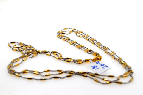 22k Chain Yellow Solid Gold Necklace Exquisite Modern Two Tone Link Design c1077 | Royal Dubai Jewellers