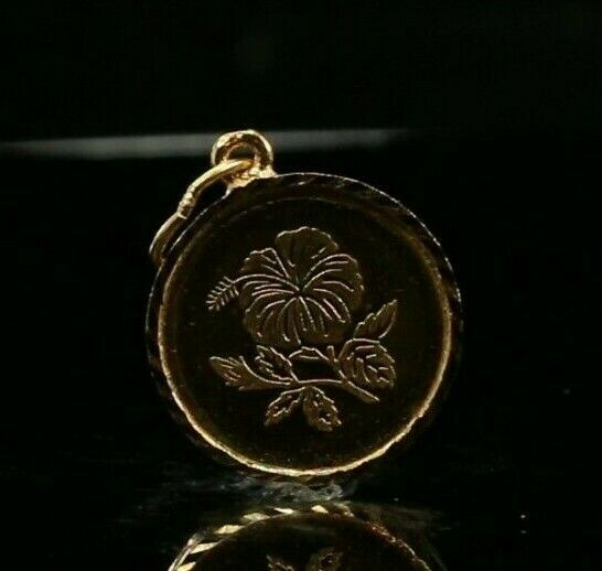 22k Pendant Solid Gold ELEGANT Classic Simple Rose Coin Pendant p2174