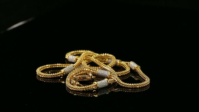 22k Chain Yellow Solid Gold Chain Necklace Foxtail Design Charm Length 18