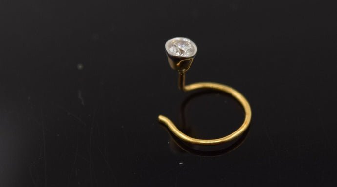Authentic 18K Yellow Gold Nose Ring Round-Cut-Diamond VS2 n115 | Forever22karat