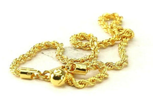 22k Bracelet Solid Gold Simple Dazzling Rope Design with Charm B4128
