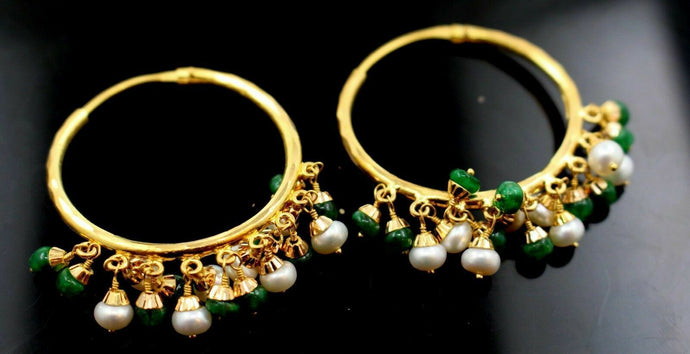 22k 22ct solid gold ROUND PEARL EMERALD DROP DANGLING Earrings HOOPS  E5391 | Royal Dubai Jewellers