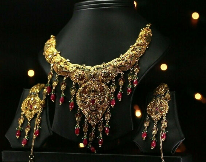 22k Beautiful Charm Solid Gold Traditional Antique Necklace Set For Ladies LS158