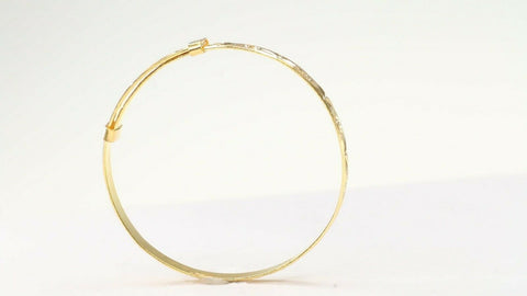22k Solid Gold ELEGANT Children Simple Bangle Adjustable Size 1.7 inch CB1183 | Royal Dubai Jewellers