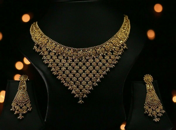 22k Beautiful Solid Gold Classic Filigree Necklace Set For Ladies LS214