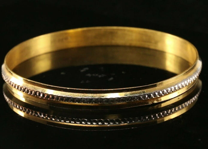 22k Bangle Solid Gold Simple Charm Two Tone Kara Design Size 3 inch B1165 | Royal Dubai Jewellers