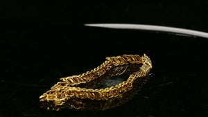 22k Bracelet Solid Gold Simple Classic Two Tone Serpentine Design B4104