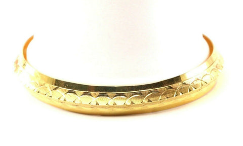 22k Bangle Solid Gold Simple Diamond Cut Mens Kara Design Size 3 inch B1160 | Royal Dubai Jewellers