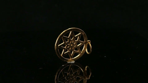22k Pendant Solid Gold ELEGANT Simple Diamond Cut Star Design Pendant P2010