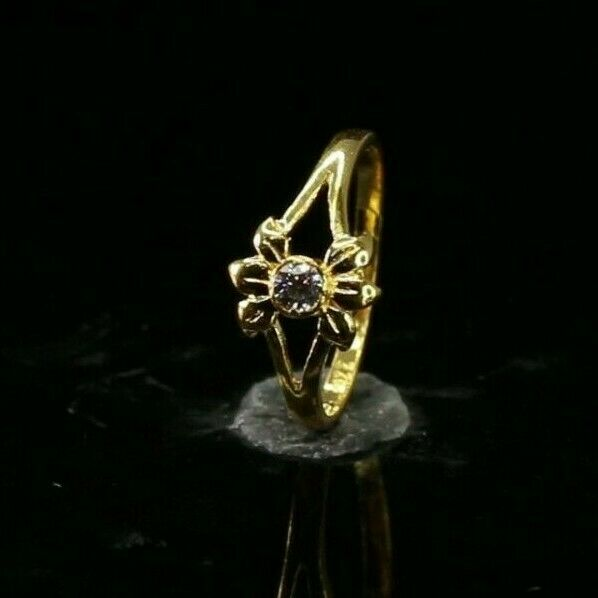 22k Ring Solid Gold ELEGANT Charm Simple Ring SIZE 3